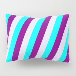 Aqua, Purple, and Lavender Colored Lined Pattern Pillow Sham