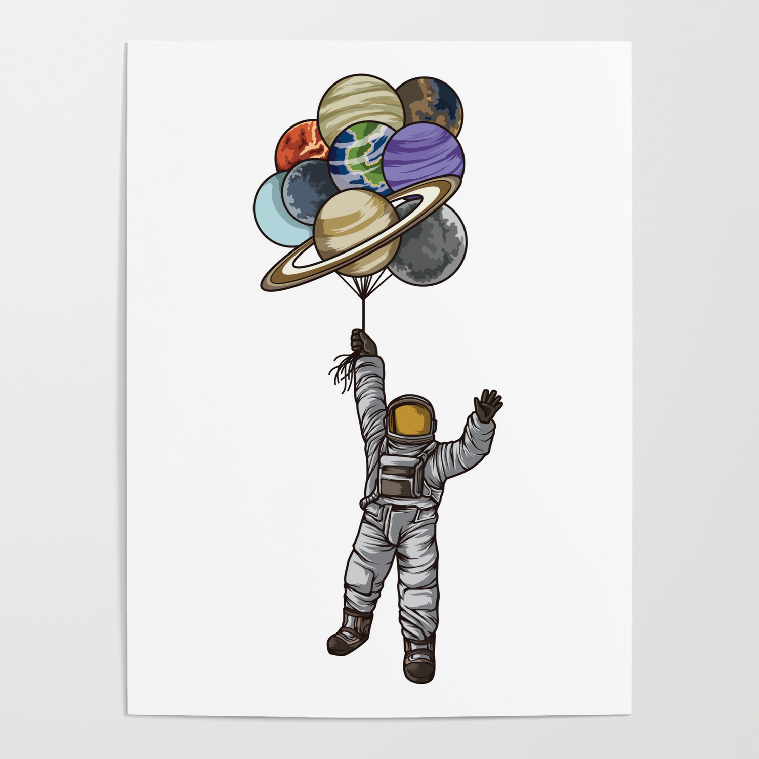 astronaut with balloons that look like planets posters