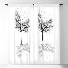 Black Tree Ink Art Blackout Curtain
