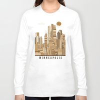minneapolis Long Sleeve T-shirts featuring Minneapolis skyline by bri.b