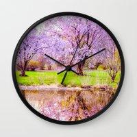 arnold Wall Clocks featuring Spring at Arnold Arboretum by LudaNayvelt