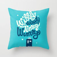 risa rodil Throw Pillows featuring Wibbly Wobbly Timey Wimey by Risa Rodil