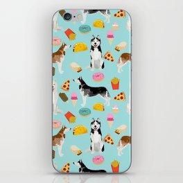 Husky siberian huskies junk food cute dog art sweet treat dogs pet portrait pattern iPhone Skin