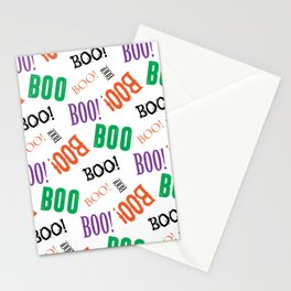 Boo! Pattern on White Background Stationery Cards