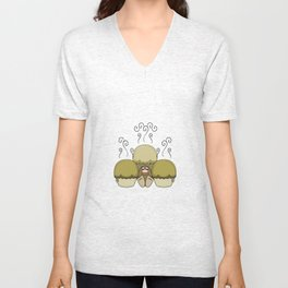 Cute Monster With Yellow Frosted Cupcakes Unisex V-Neck