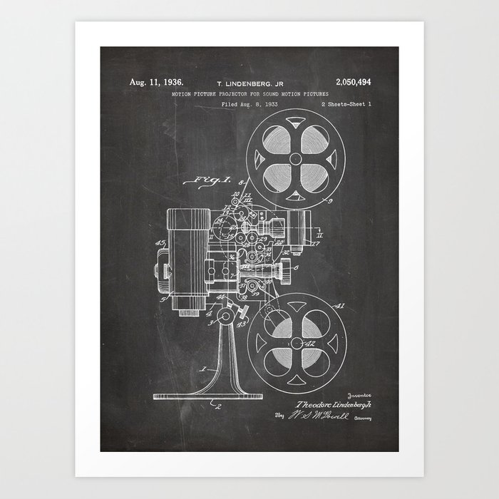 Film Projector Patent - Cinema Art - Black Chalkboard Kunstdrucke