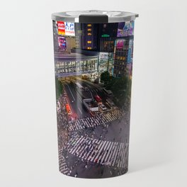 Crowd walking across Shibuya crossing in Tokyo, Japan Travel Mug