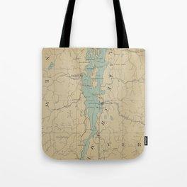 Vintage Lake Champlain Lighthouse Map (1896) Tote Bag