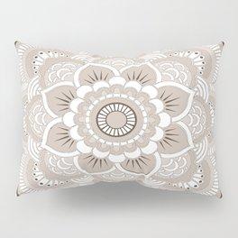 Beige & White Mandala Pillow Sham