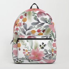 Modern girly pink floral watercolor botanical pattern  Backpack