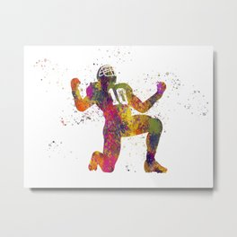 American football player in watercolor 13 Metal Print