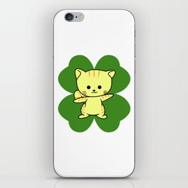 Cat On Four Leaf Clover - St. Patricks Day Funny iPhone Skin