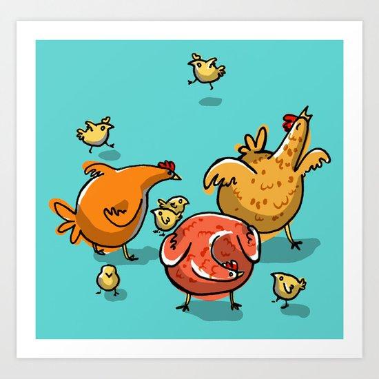 Chickens! Art Print