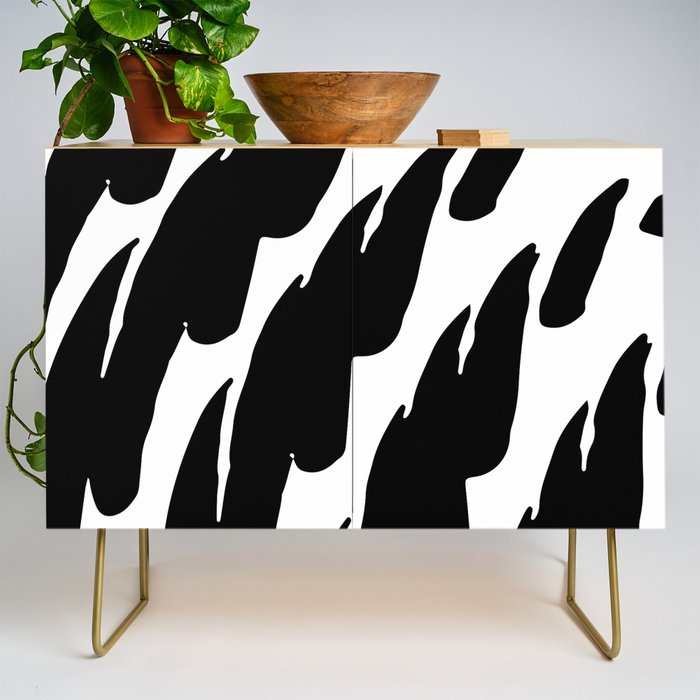 Black Abstract Brush Marks Credenza