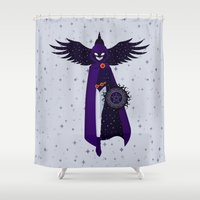 raven Shower Curtains featuring RAVEN by badOdds