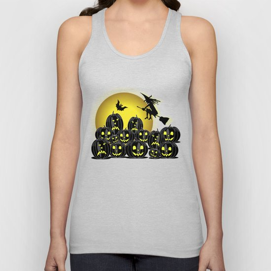 Pumpkins and witch in front of a full moon Unisex Tank Top by hereswendy