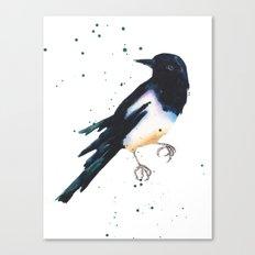 Magpie, bird art, bird lover gift, magpie painting Canvas Print