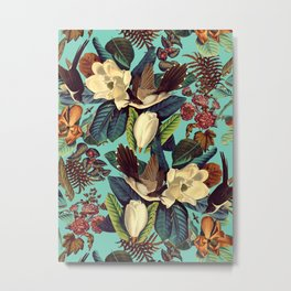FLORAL AND BIRDS XXI Metal Print