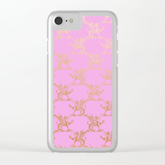 Princess like I - Gold glitter effect lion pattern on pink background #Society6 Clear iPhone Case