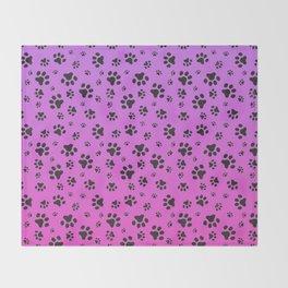Paw Prints Pink Purple Gradient Throw Blanket