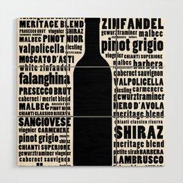 Wine Typography Art - Black and White Wall Art Print Wood Wall Art