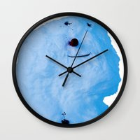 snowman Wall Clocks featuring Snowman  by AstridJN
