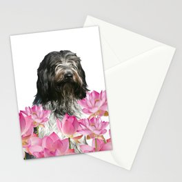 Schapendoes Dog in pink Lotus Field Flower Stationery Cards