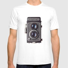 yashica White Mens Fitted Tee LARGE