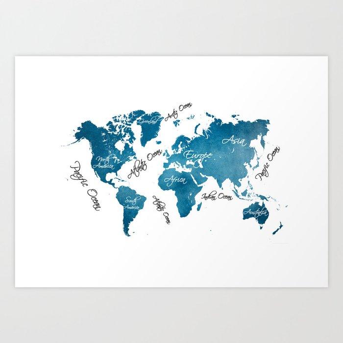 World Map Blue Art Print By Jbjart Society6