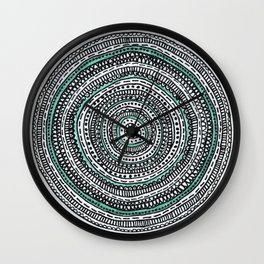 Mandala with a touch of pastel green Wall Clock