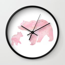 Mother Bear and Cub Art Colorful Pink Watercolor Art Gift Animals Art Kids Gift Mothers Art Wall Clock