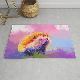 Sweet Hedgehog, cute pink and purple animal painting Rug