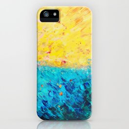 THE DIVIDE - Stunning Bold Colors, Ocean Waves Sun, Modern Beach Chic Theme Abstract Painting iPhone Case