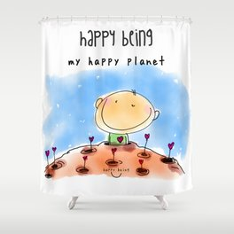 My Happy Planet Shower Curtain