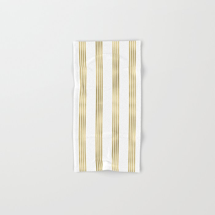 Simply luxury Gold small stripes on clear white - vertical pattern Hand & Bath Towel