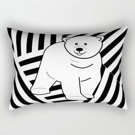 Polar bear on a striped background Rectangular Pillow