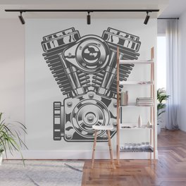 Vintage motorcycle engine in design fashion modern monochrome style illustration Wall Mural