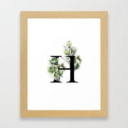 Letter 'H' Helleborus Flower Typography Framed Art Print