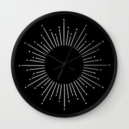 Sunburst Moonlight Silver on Black Wall Clock