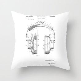 patent art Falkenberg Headphone assembly 1966 Throw Pillow