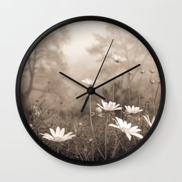 Daisies in the Fog, Guy Fleming Trail, Torrey Pines Wall Clock