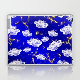 white blossom in blue and gold Digital pattern with circles and fractals artfully colored design Laptop & iPad Skin