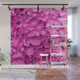 Artful Pink Hydrangeas Floral Design Wall Mural