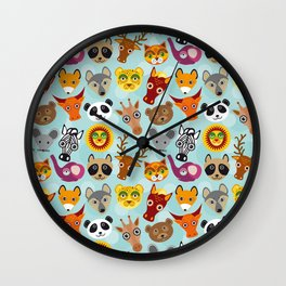pattern with funny cute animal face on a blue background Wall Clock