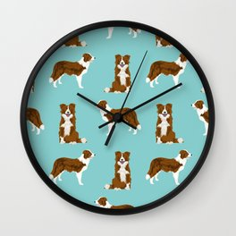 Border Collie red coat dog breed pet friendly gifts for collie lovers Wall Clock