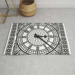 Big Ben, Clock Face, Intricate Vintage Timepiece Watch Rug