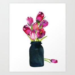 Red Tulips in Mason Jar Art Print