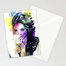 Milla fashion portrait girl watercolor tye and dye face Stationery Cards