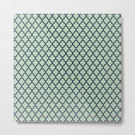 Modern mint green navy blue moroccan quatrefoil Metal Print