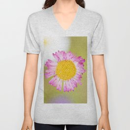 Yellow and pink wildflower Unisex V-Neck